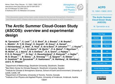 The Arctic Summer Cloud-ocean Study (Asc... by Tjernström, M.