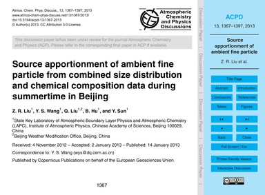 Source Apportionment of Ambient Fine Par... by Liu, Z. R.