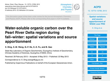 Water-soluble Organic Carbon Over the Pe... by Ding, X.