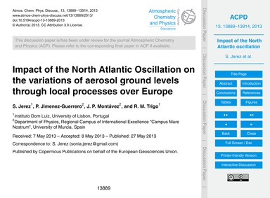Impact of the North Atlantic Oscillation... by Jerez, S.