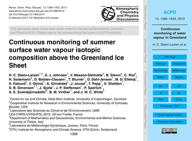 Continuous Monitoring of Summer Surface ... by Steen-larsen, H. C.
