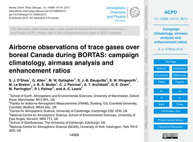 Airborne Observations of Trace Gases Ove... by O'Shea, S. J.