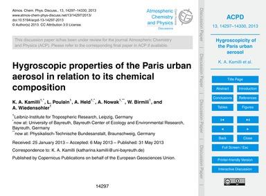 Hygroscopic Properties of the Paris Urba... by Kamilli, K. A.