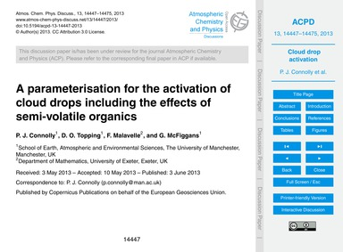 A Parameterisation for the Activation of... by Connolly, P. J.