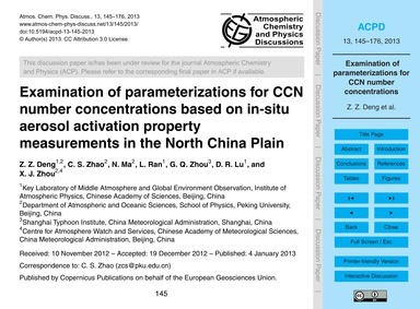 Examination of Parameterizations for Ccn... by Deng, Z. Z.