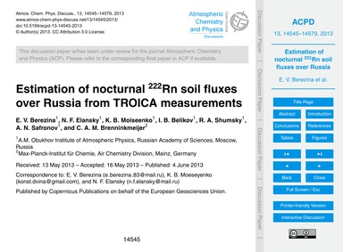Estimation of Nocturnal 222Rn Soil Fluxe... by Berezina, E. V.