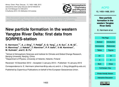 New Particle Formation in the Western Ya... by Herrmann, E.