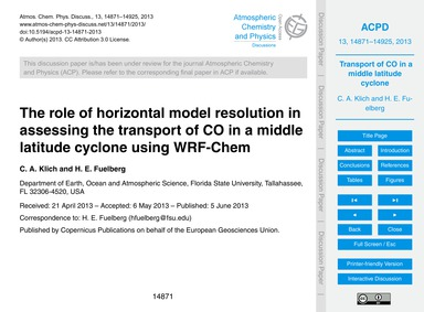 The Role of Horizontal Model Resolution ... by Klich, C. A.
