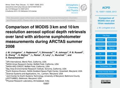 Comparison of Modis 3 Km and 10 Km Resol... by Livingston, J. M.