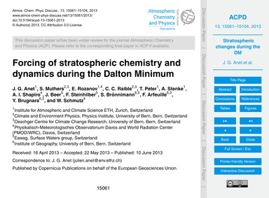 Forcing of Stratospheric Chemistry and D... by Anet, J. G.