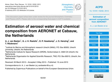 Estimation of Aerosol Water and Chemical... by Van Beelen, A. J.
