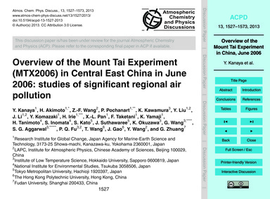 Overview of the Mount Tai Experiment (Mt... by Kanaya, Y.