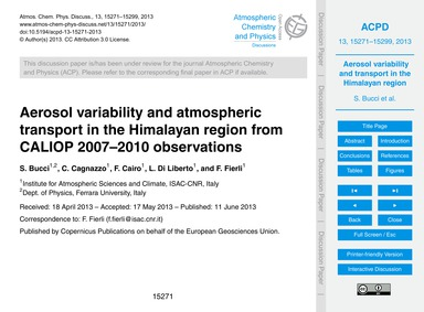Aerosol Variability and Atmospheric Tran... by Bucci, S.