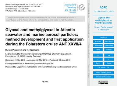 Glyoxal and Methylglyoxal in Atlantic Se... by Van Pinxteren, M.