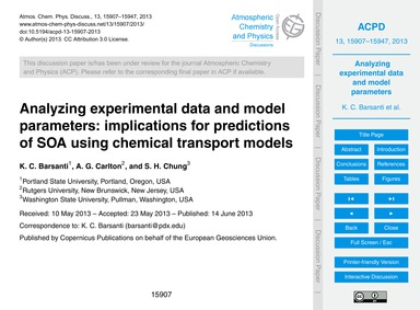 Analyzing Experimental Data and Model Pa... by Barsanti, K. C.