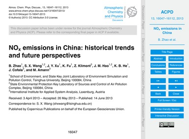 NoX Emissions in China: Historical Trend... by Zhao, B.