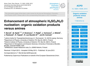 Enhancement of Atmospheric H2So4/H2O Nuc... by Berndt, T.