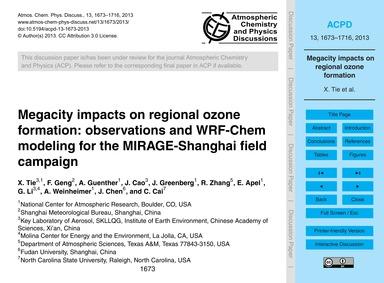 Megacity Impacts on Regional Ozone Forma... by Tie, X.