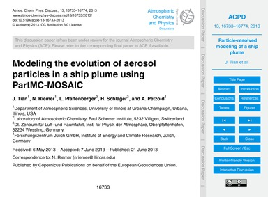 Modeling the Evolution of Aerosol Partic... by Tian, J.