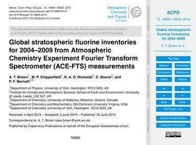 Global Stratospheric Fluorine Inventorie... by Brown, A. T.
