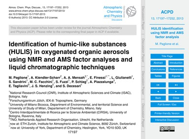 Identification of Humic-like Substances ... by Paglione, M.