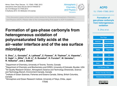 Formation of Gas-phase Carbonyls from He... by Zhou, S.