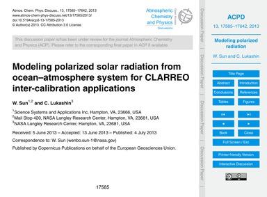 Modeling Polarized Solar Radiation from ... by Sun, W.