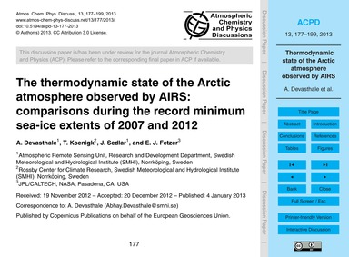 The Thermodynamic State of the Arctic At... by Devasthale, A.