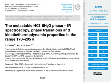 The Metastable Hcl · 6H2O Phase – Ir Spe... by Chiesa, S.