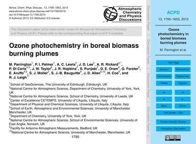 Ozone Photochemistry in Boreal Biomass B... by Parrington, M.