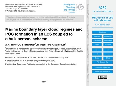 Marine Boundary Layer Cloud Regimes and ... by Berner, A. H.