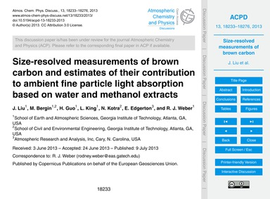 Size-resolved Measurements of Brown Carb... by Liu, J.