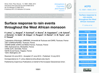 Surface Response to Rain Events Througho... by Lohou, F.