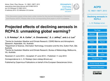 Projected Effects of Declining Aerosols ... by Rotstayn, L. D.