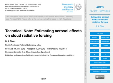 Technical Note: Estimating Aerosol Effec... by Ghan, S. J.