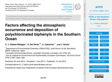 Factors Affecting the Atmospheric Occurr... by Galbán-malagón, C. J.