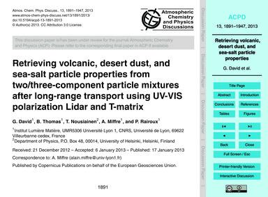Retrieving Volcanic, Desert Dust, and Se... by David, G.