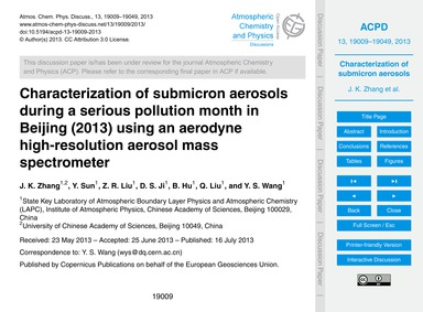 Characterization of Submicron Aerosols D... by Zhang, J. K.