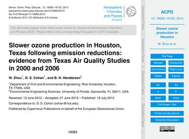 Slower Ozone Production in Houston, Texa... by Zhou, W.