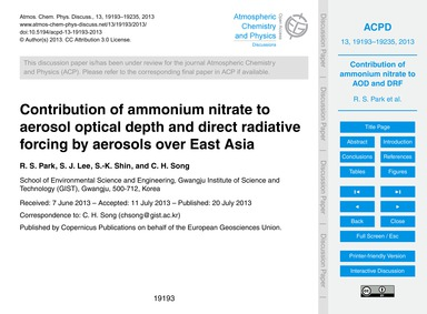 Contribution of Ammonium Nitrate to Aero... by Park, R. S.