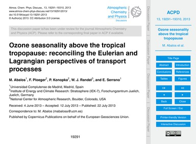 Ozone Seasonality Above the Tropical Tro... by Abalos, M.