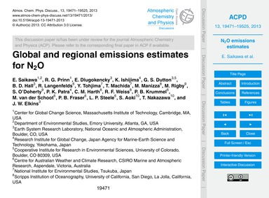 Global and Regional Emissions Estimates ... by Saikawa, E.