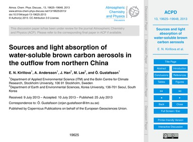 Sources and Light Absorption of Water-so... by Kirillova, E. N.