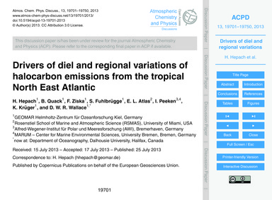 Drivers of Diel and Regional Variations ... by Hepach, H.