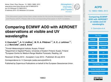 Comparing Ecmwf Aod with Aeronet Observa... by Cesnulyte, V.