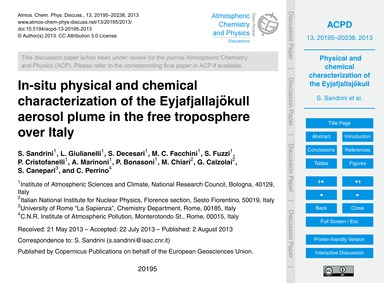 In-situ Physical and Chemical Characteri... by Sandrini, S.