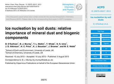 Ice Nucleation by Soil Dusts: Relative I... by O'Sullivan, D.