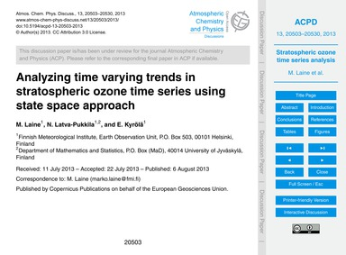 Analyzing Time Varying Trends in Stratos... by Laine, M.