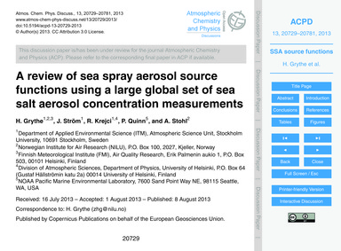 A Review of Sea Spray Aerosol Source Fun... by Grythe, H.