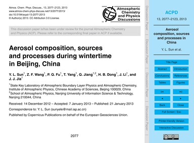 Aerosol Composition, Sources and Process... by Sun, Y. L.